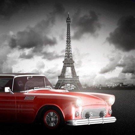 Eyfel Kulesi-Araba Manzaralı Kanvas Tablo - Thumbnail