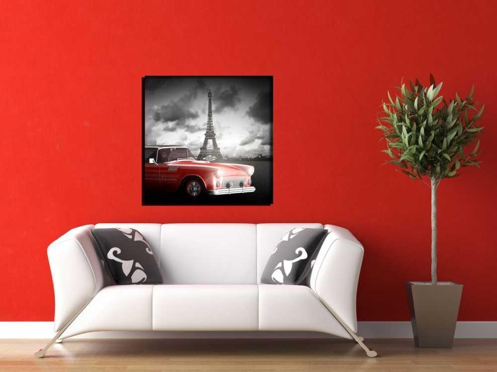 Eyfel Kulesi-Araba Manzaralı Kanvas Tablo