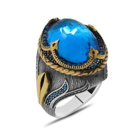 Faset Aqua Zirkon Taşlı Kompakt Tasarım 925 Ayar Gümüş Şehzade Yüzüğü - Thumbnail