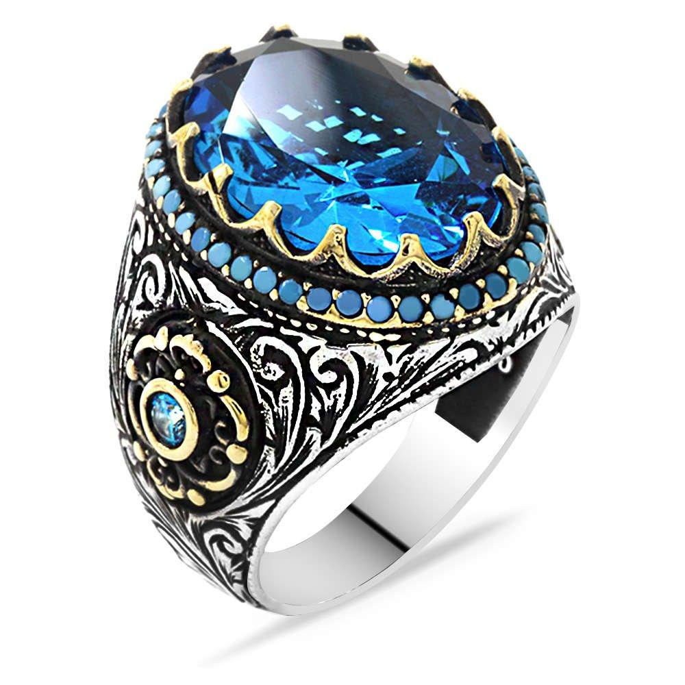 Faset Kesim Aqua Mavi Zirkon Taşlı 925 Ayar Gümüş Erkek Yüzük