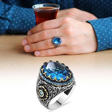 Faset Kesim Aqua Mavi Zirkon Taşlı 925 Ayar Gümüş Erkek Yüzük - Thumbnail