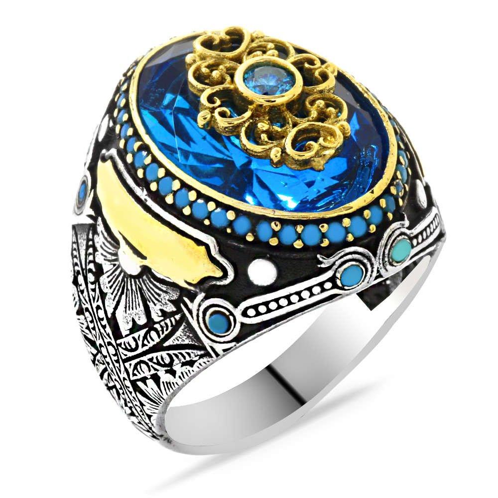 Faset Kesim Aqua Mavi Zirkon Taşlı Kişiye Özel İsim Yazılı 925 Ayar Gümüş Erkek Yüzük