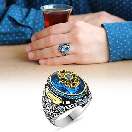 Faset Kesim Aqua Mavi Zirkon Taşlı Kişiye Özel İsim Yazılı 925 Ayar Gümüş Erkek Yüzük - Thumbnail