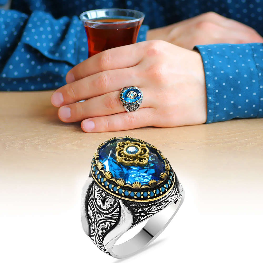 Faset Kesim Aqua Mavi Zirkon Taşlı Mikro Taş Mıhlamalı 925 Ayar Gümüş Erkek Yüzük