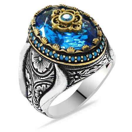 Faset Kesim Aqua Mavi Zirkon Taşlı Mikro Taş Mıhlamalı 925 Ayar Gümüş Erkek Yüzük - Thumbnail