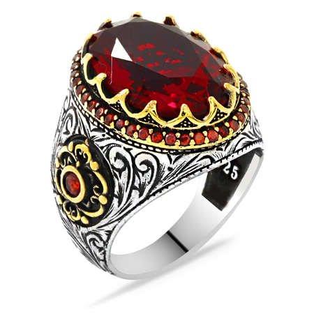 Faset Kesim Kırmızı Zirkon Taşlı 925 Ayar Gümüş Erkek Yüzük - Thumbnail