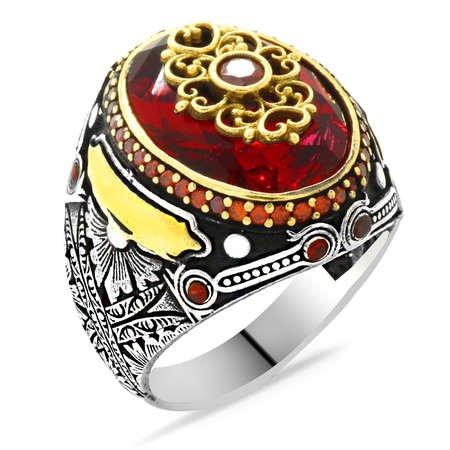 Faset Kesim Kırmızı Zirkon Taşlı Kişiye Özel İsim Yazılı 925 Ayar Gümüş Erkek Yüzük - Thumbnail
