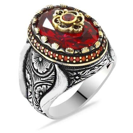 Faset Kesim Kırmızı Zirkon Taşlı Mikro Taş Mıhlamalı 925 Ayar Gümüş Erkek Yüzük - Thumbnail