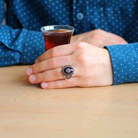 Faset Kesim Siyah Zirkon Taşlı Mikro Taş Mıhlamalı 925 Ayar Gümüş Erkek Yüzük - Thumbnail