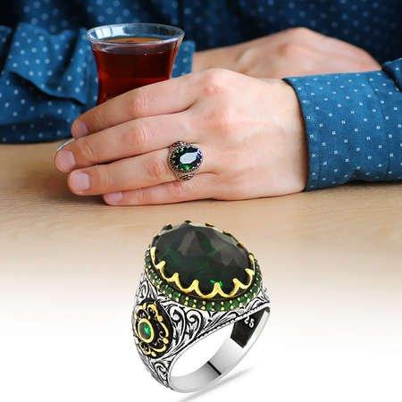 Faset Kesim Yeşil Zirkon Taşlı 925 Ayar Gümüş Erkek Yüzük - Thumbnail