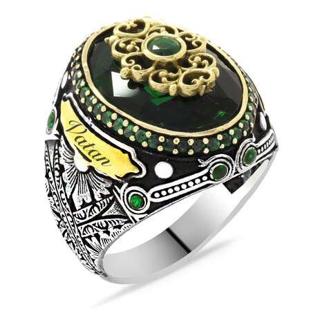 Faset Kesim Yeşil Zirkon Taşlı Kişiye Özel İsim Yazılı 925 Ayar Gümüş Erkek Yüzük - Thumbnail