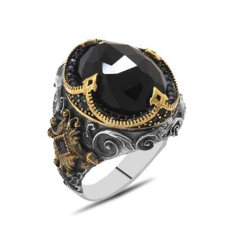 Faset Siyah Zirkon Taşlı Kral Tacı Tasarım 925 Ayar Gümüş Erkek Yüzük - Thumbnail