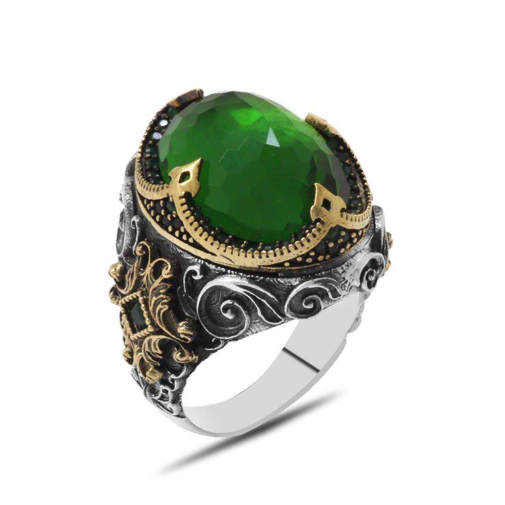 Faset Yeşil Zirkon Taşlı Kral Tacı Tasarım 925 Ayar Gümüş Erkek Yüzük