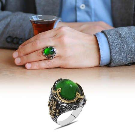 Faset Yeşil Zirkon Taşlı Kral Tacı Tasarım 925 Ayar Gümüş Erkek Yüzük - Thumbnail