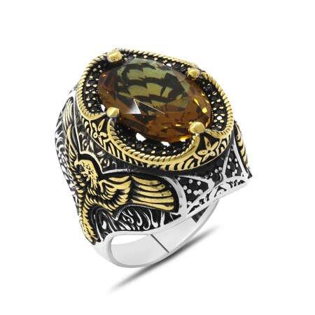 Faset Zultanit Taşlı Kartal Kanadı Detaylı Agresif Kasa Tasarımlı 925 Ayar Gümüş Erkek Yüzük - Thumbnail