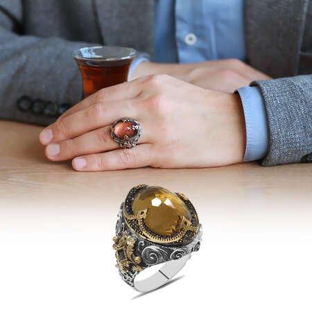 Faset Zultanit Taşlı Kral Tacı Tasarım 925 Ayar Gümüş Erkek Yüzük - Thumbnail
