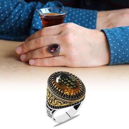 Faset Zultanit Taşlı Mikro Taş Mıhlamalı Selçuklu Motifli 925 Ayar Gümüş Erkek Yüzük - Thumbnail