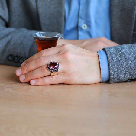 Faset Zultanit Taşlı Yanları Mikro Taş Mıhlamalı 925 Ayar Gümüş Erkek Yüzük - Thumbnail