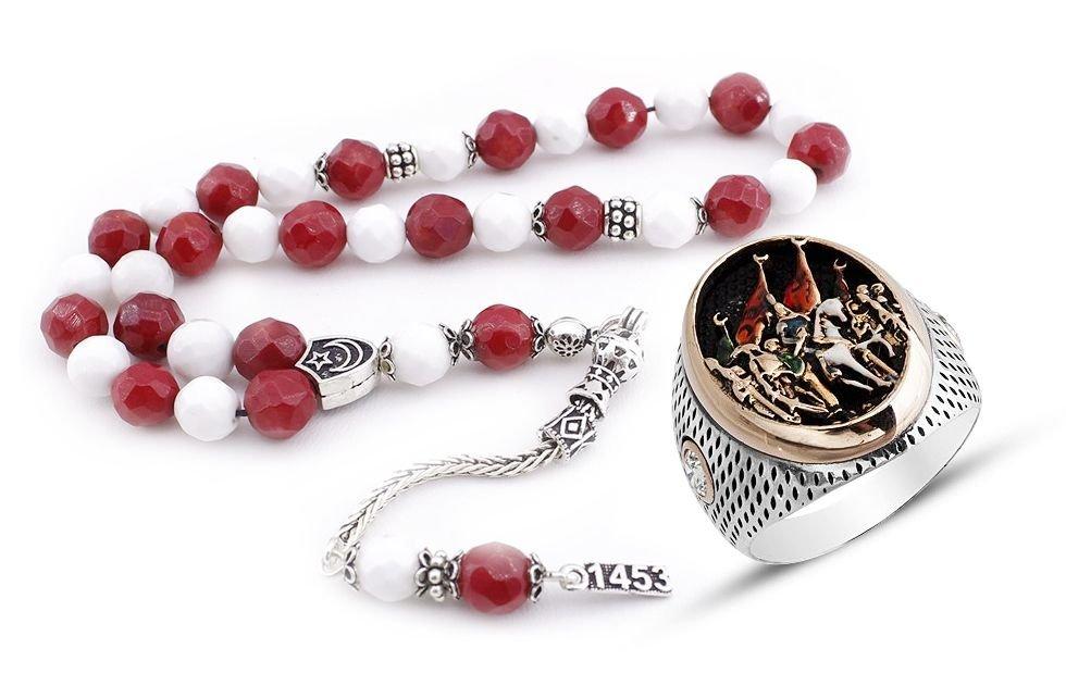 Fatih'in İstanbul'a Giriş Yüzüğü ve Gümüşlü Ayyıldız Doğaltaş Tesbih
