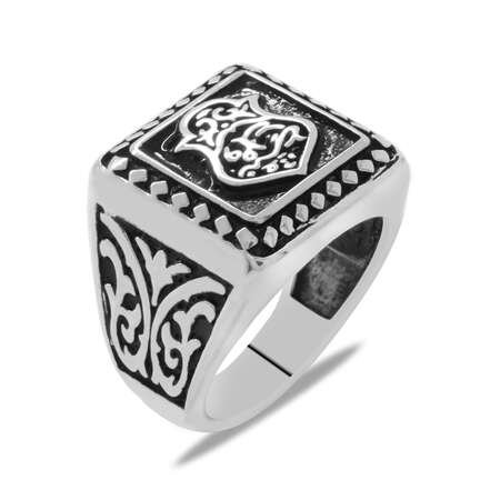 Fatma Ana Eli Temalı 925 Ayar Gümüş Erkek Yüzük - Thumbnail