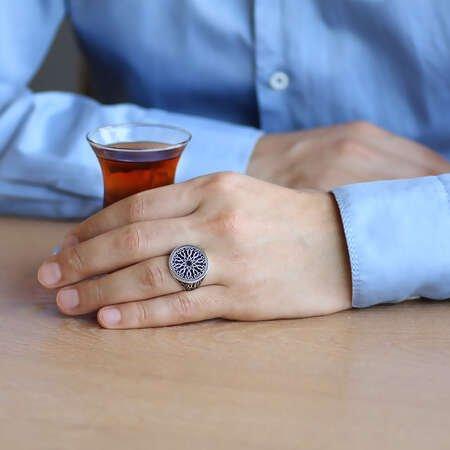 Ferforje Tasarım 925 Ayar Gümüş Erkek Yüzük - Thumbnail
