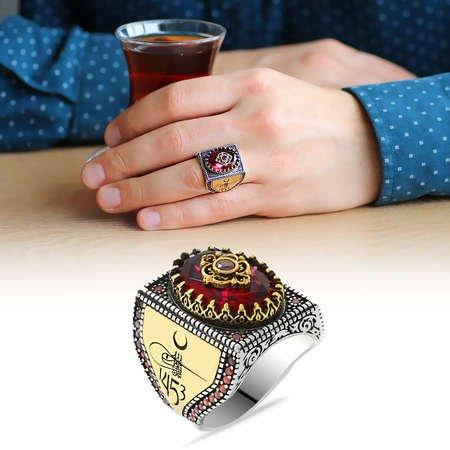 Fetih 1453 Temalı Faset Kesim Kırmızı Zirkon Taşlı 925 Ayar Gümüş Erkek Yüzük - Thumbnail