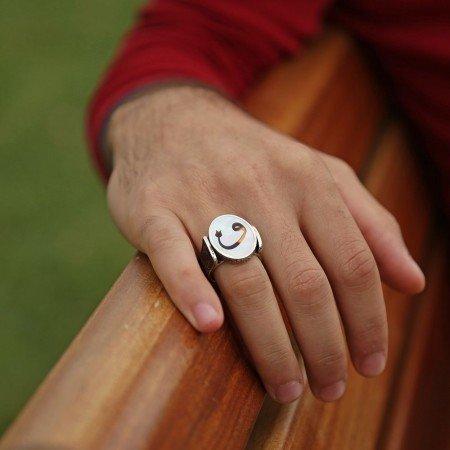 Fil Dişi Üzerine Vav Harfli 925 Ayar Gümüş Oval Yüzük - Thumbnail