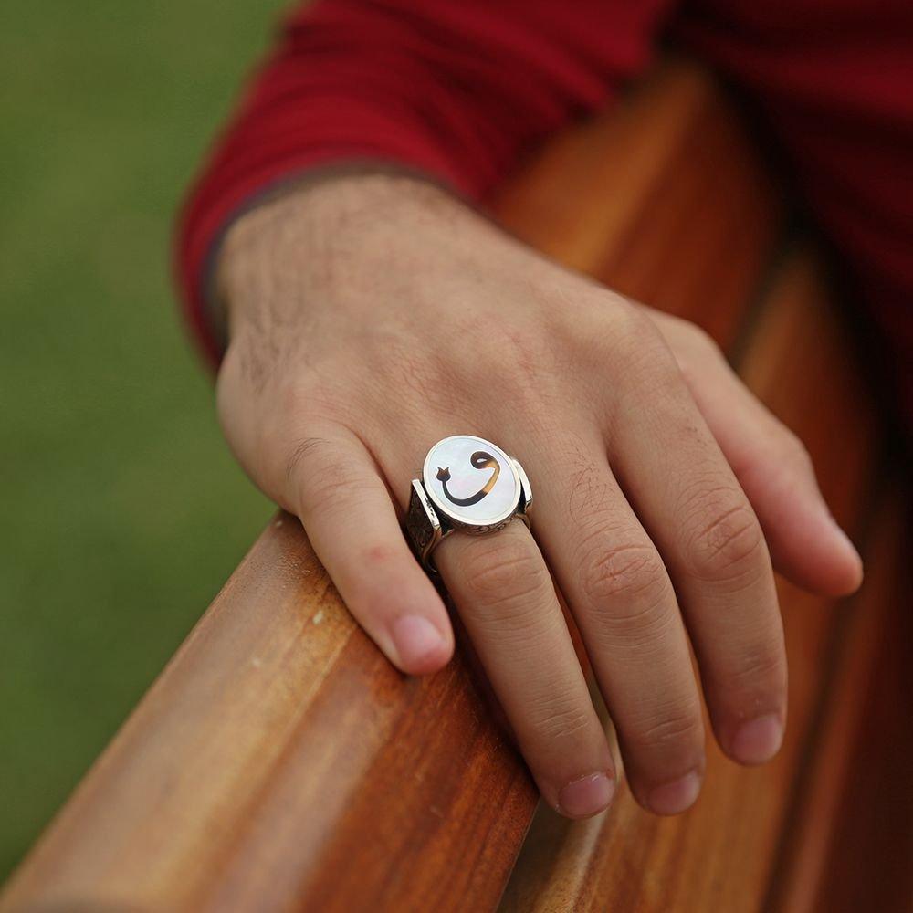 Fil Dişi Üzerine Vav Harfli 925 Ayar Gümüş Oval Yüzük