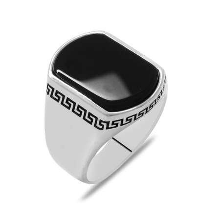 Flat Tasarım Siyah Oniks Taşlı 925 Ayar Gümüş Erkek Yüzük - Thumbnail