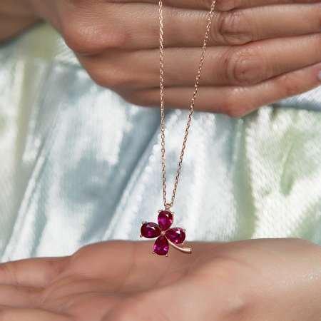 Fuşya Zirkon Taşlı Kır Çiçeği Tasarım Rose Renk 925 Ayar Gümüş Kadın Kolye - Thumbnail