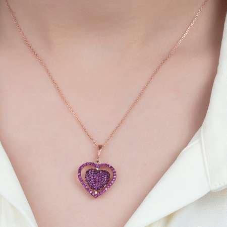 Fuşya Zirkon Taşlı Kişiye Özel İsim Yazılı Rose Renk 925 Ayar Gümüş Kalp Kolye - Thumbnail
