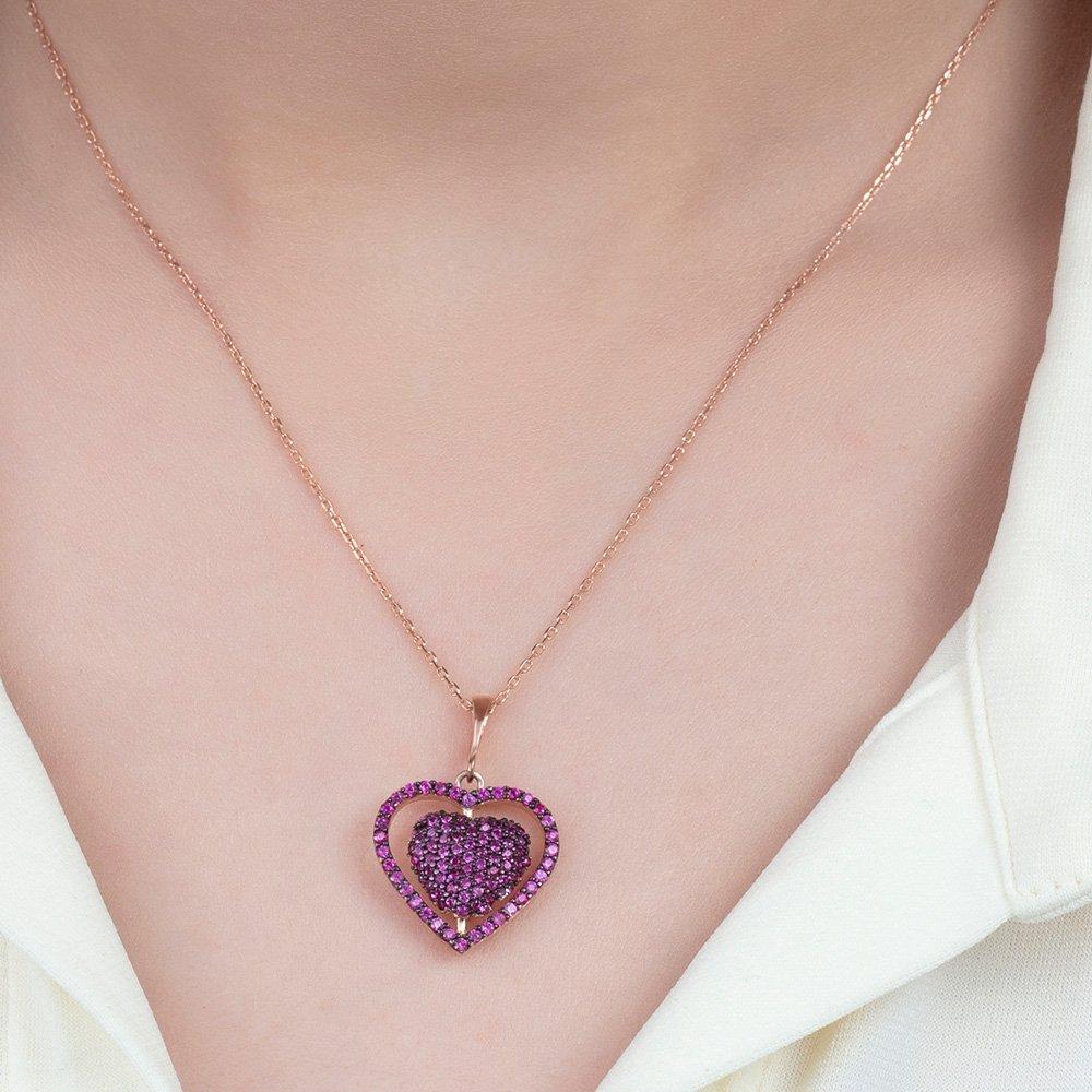 Fuşya Zirkon Taşlı Kişiye Özel İsim Yazılı Rose Renk 925 Ayar Gümüş Kalp Kolye