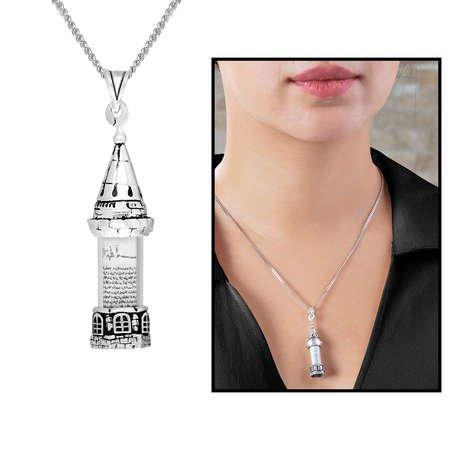 Galata Kulesi Tasarım 925 Ayar Gümüş Cevşen Kolye - Thumbnail