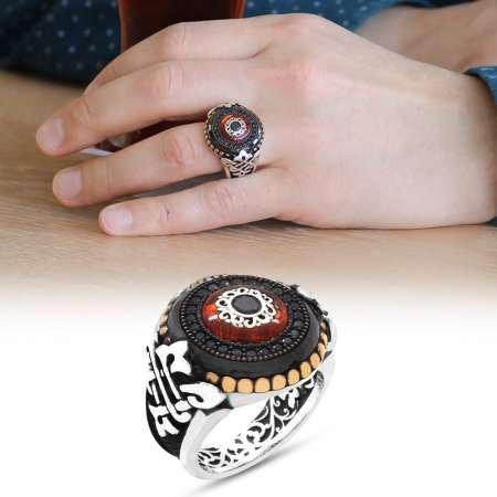 Göz Tasarım Sıkma Kehribar ve Siyah Zirkon Taşlı 925 Ayar Gümüş Erkek Yüzük - Thumbnail