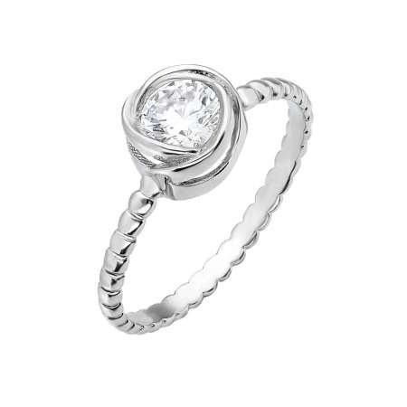 Gül Tasarım 925 Ayar Gümüş Bayan Tektaş Yüzük - Thumbnail