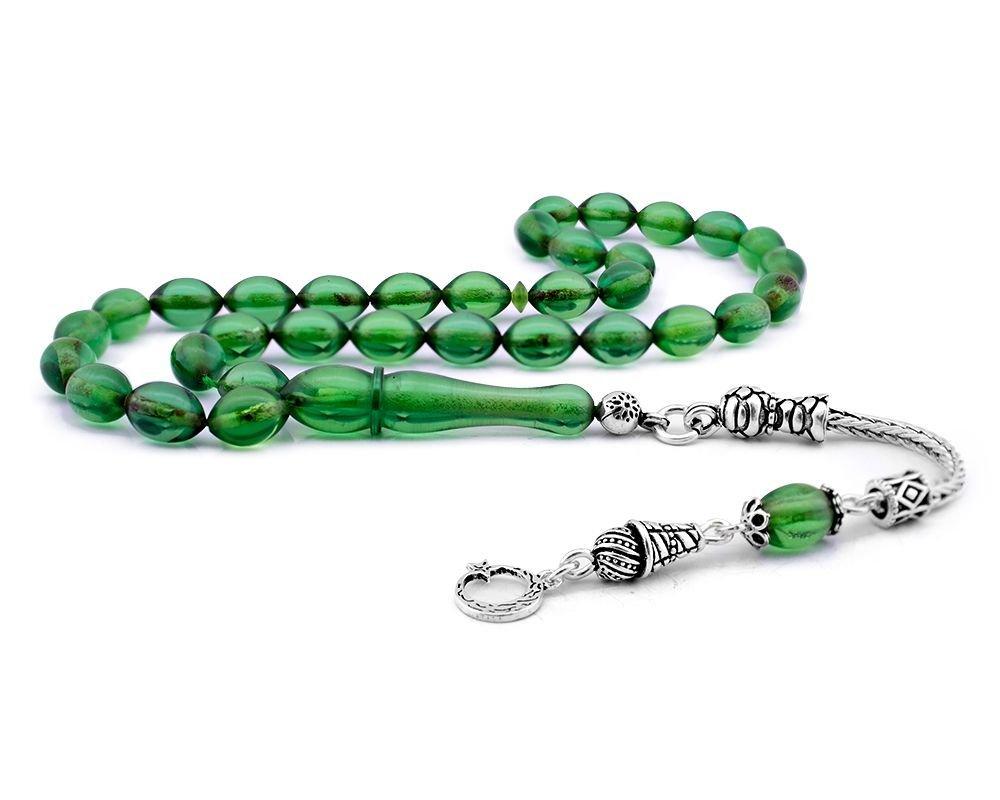Gümüş Ayyıldız Püsküllü Yeşil Sıkma Kehribar Tesbih