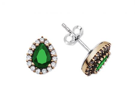 Yeşil Zirkon Taşlı Damla Tasarım 925 Ayar Gümüş Küpe - Thumbnail