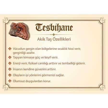 925 Ayar Gümüş Püsküllü Arpa Kesim Kırmızı Akik Doğaltaş Tesbih - Thumbnail