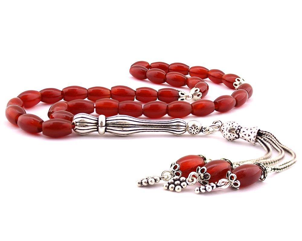 925 Ayar Gümüş Püsküllü Arpa Kesim Kırmızı Akik Doğaltaş Tesbih