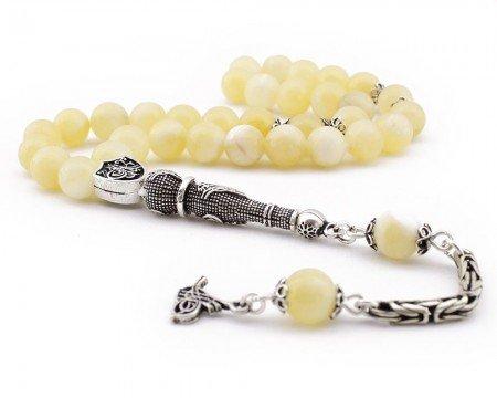 925 Ayar Gümüş Tuğra Püsküllü Arpa Kesim Sarı Kalsit Doğaltaş Tesbih - Thumbnail