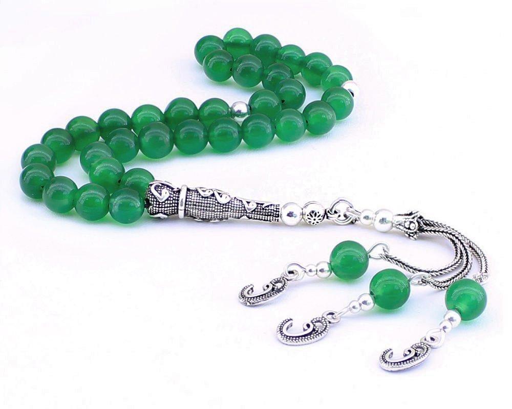 925 Ayar Gümüş Vav Püsküllü Küre Kesim Yeşil Akik Doğaltaş Tesbih