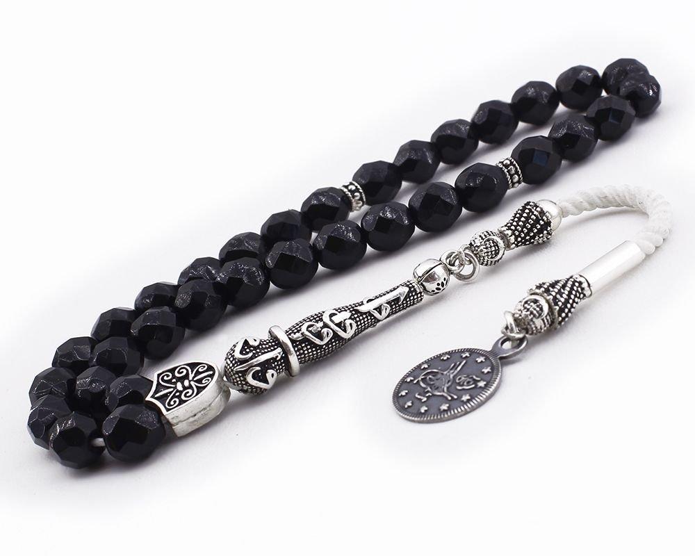 925 Ayar Gümüş Tuğra Püsküllü Fasetalı Küre Kesim Siyah Oniks Tesbih