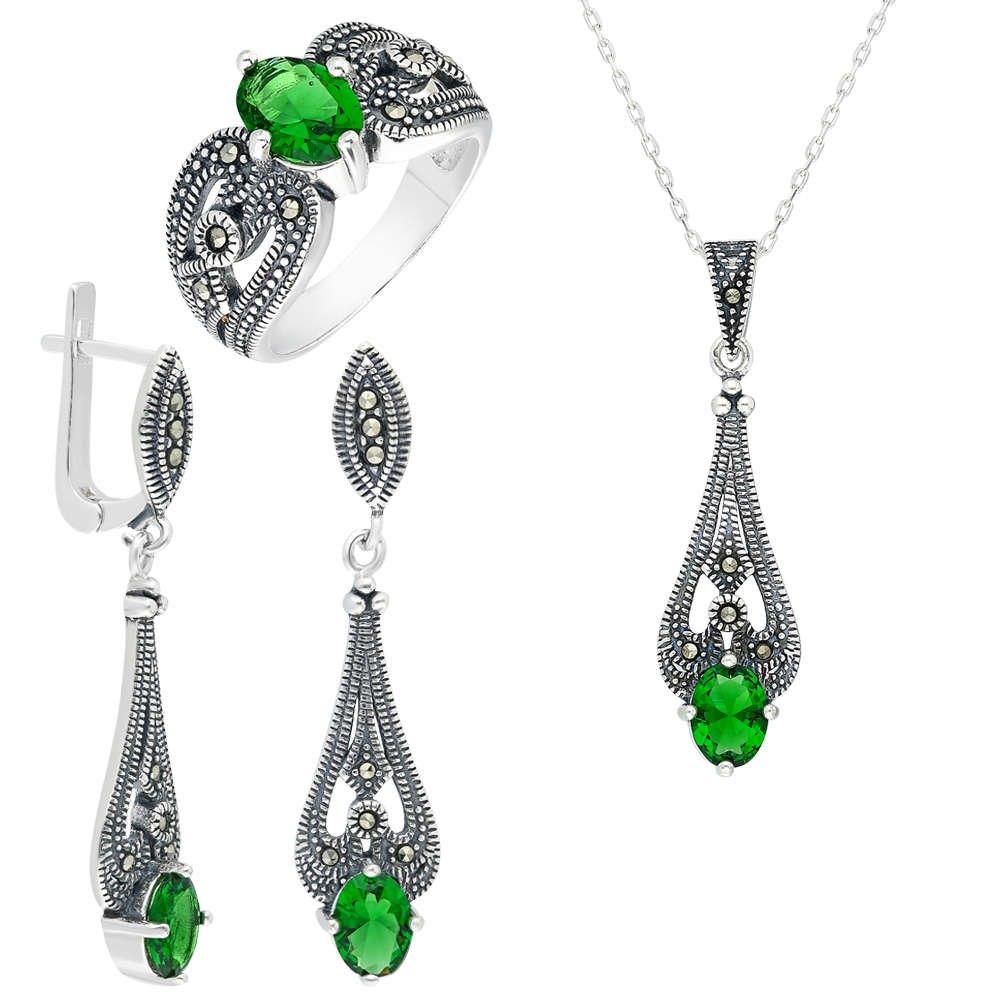 Yeşil Green Glass Taşlı 925 Ayar Gümüş 3'lü Takı Seti