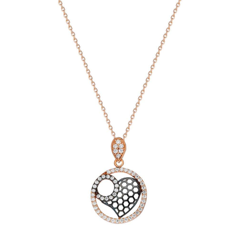 Beyaz Zirkon Taşlı Kalp Halka Tasarım 925 Ayar Gümüş Bayan Kolye
