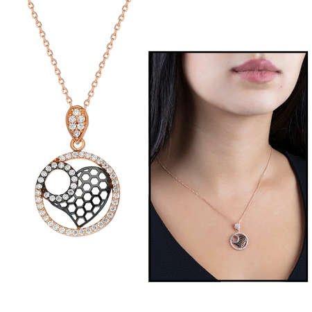 Beyaz Zirkon Taşlı Kalp Halka Tasarım 925 Ayar Gümüş Bayan Kolye - Thumbnail