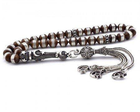 Gümüş İmame ve Püsküllü Sarmal Gümüşlü Ufak Boy Kuka Tesbih - Thumbnail