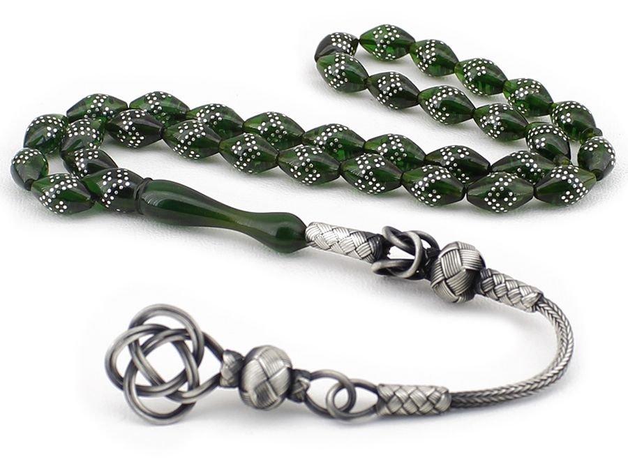 Gümüş İşlemeli Arpa Kesim Yeşil Sıkma Kehribar Tesbih (DEKAQ249)