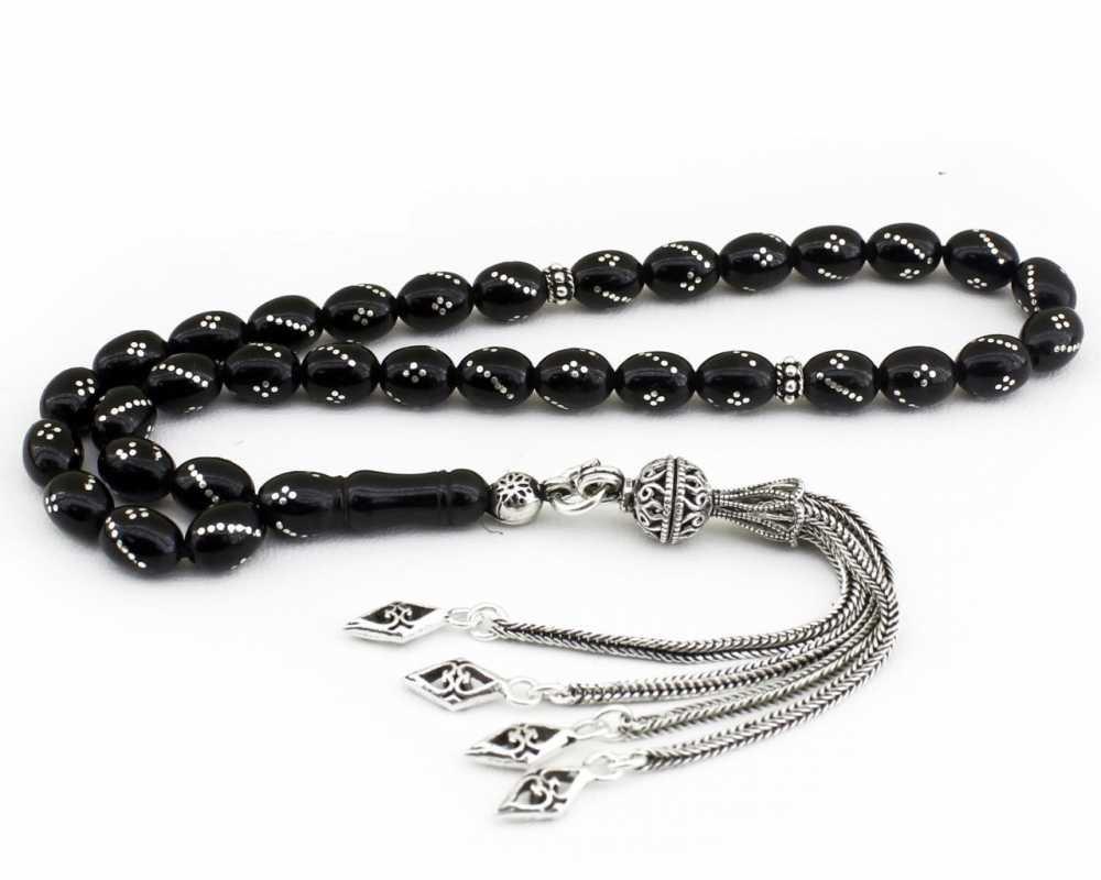 925 Ayar Gümüş Püsküllü Gümüş İşlemeli Arpa Kesim Erzurum Oltu Taşı Tesbih