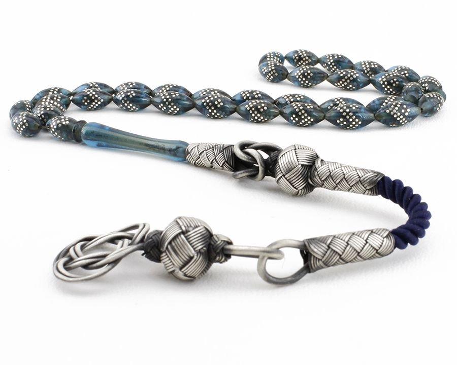 Gümüş İşlemeli Kazaz Püsküllü Mavi Sıkma Kehribar Tesbih (GNYCEZ89)