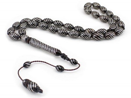 Gümüş İşlemeli Özel Yapım Kuka Tesbih - Thumbnail